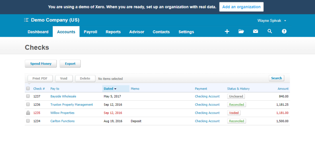 Check Register Xero Bank Reconciliation