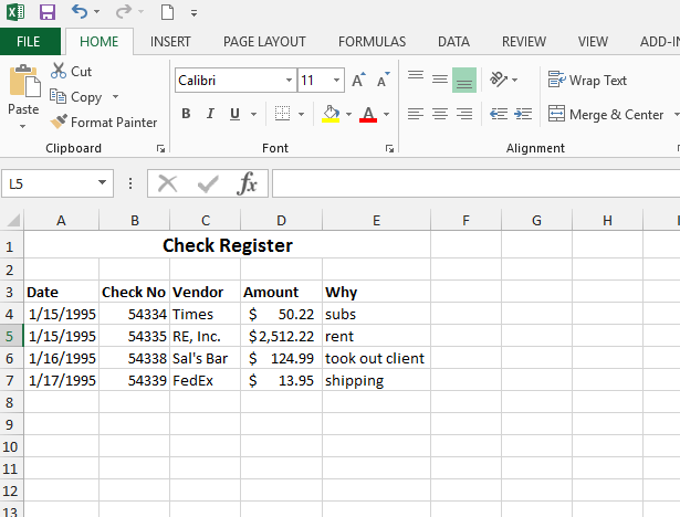 Check Register Bank Reconciliation